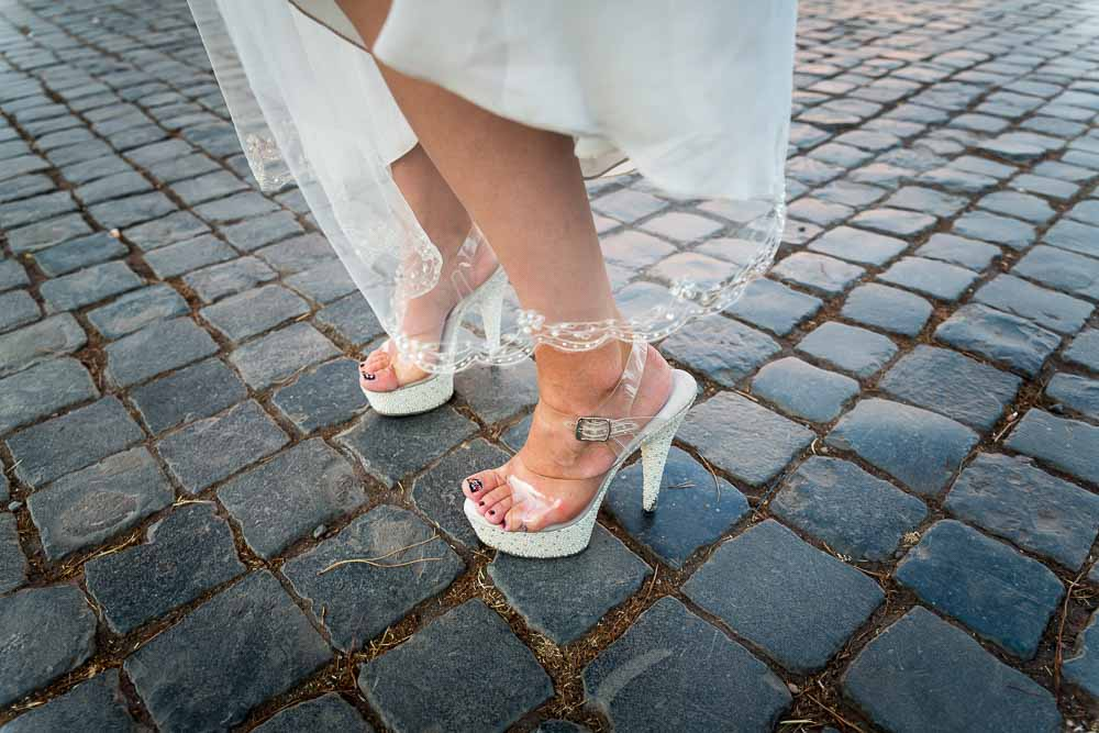 Close up image of the bridal shows on cobble stones