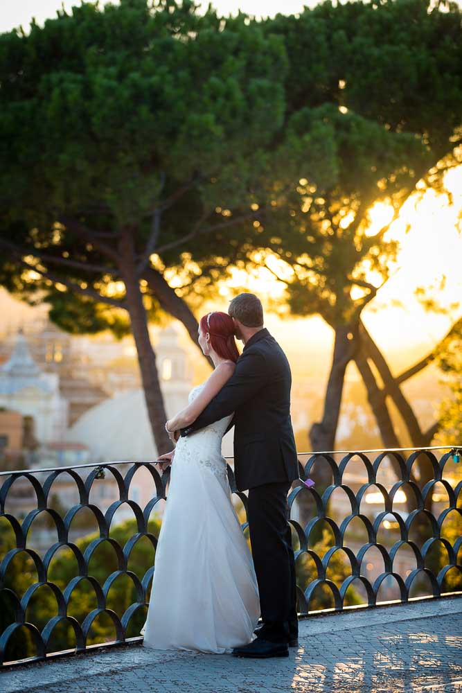 Sunset wedding photo session looking out from Pincio park in Rome