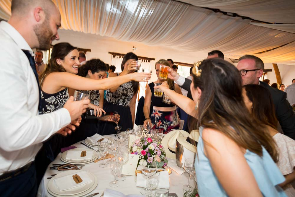 Toasting and celebrating