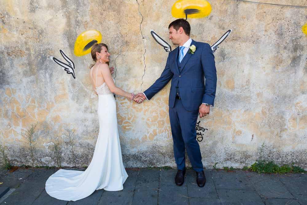 Bride and groom street angel photo shoot