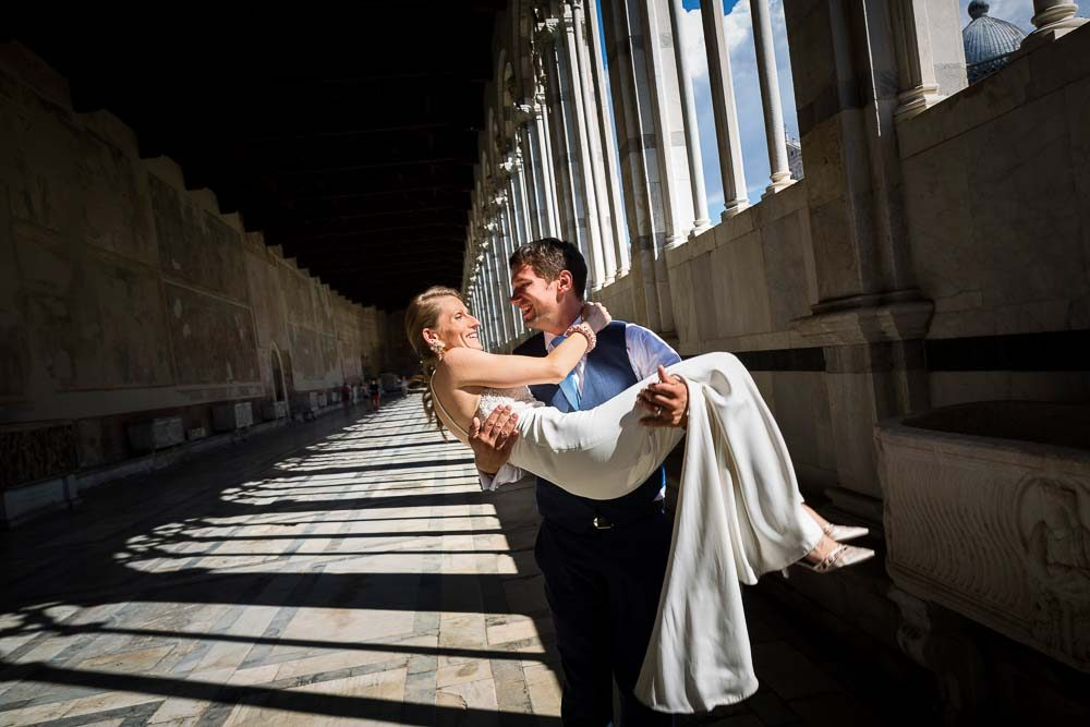 Happy and love couple wedding photography session inside the baptistery