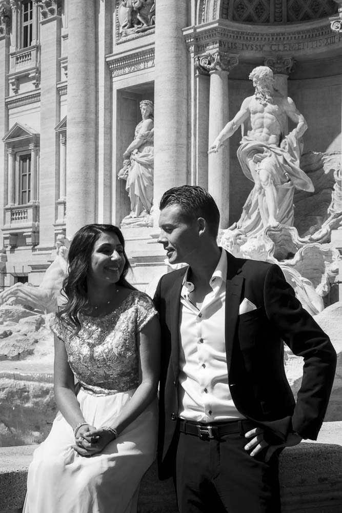 Black and white image at the Trevi fountain
