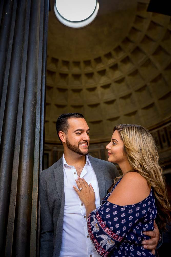 Photo shoot inside the Roman Pantheon in Rome Italy