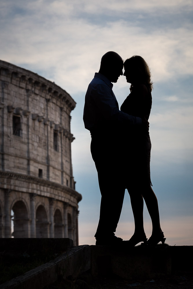 Silhouette image of a couple in Rome