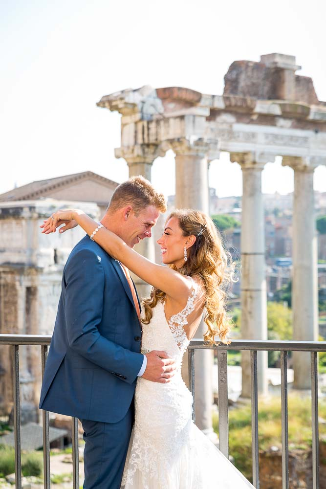 Close up image of a wedding couple just married at the Forum