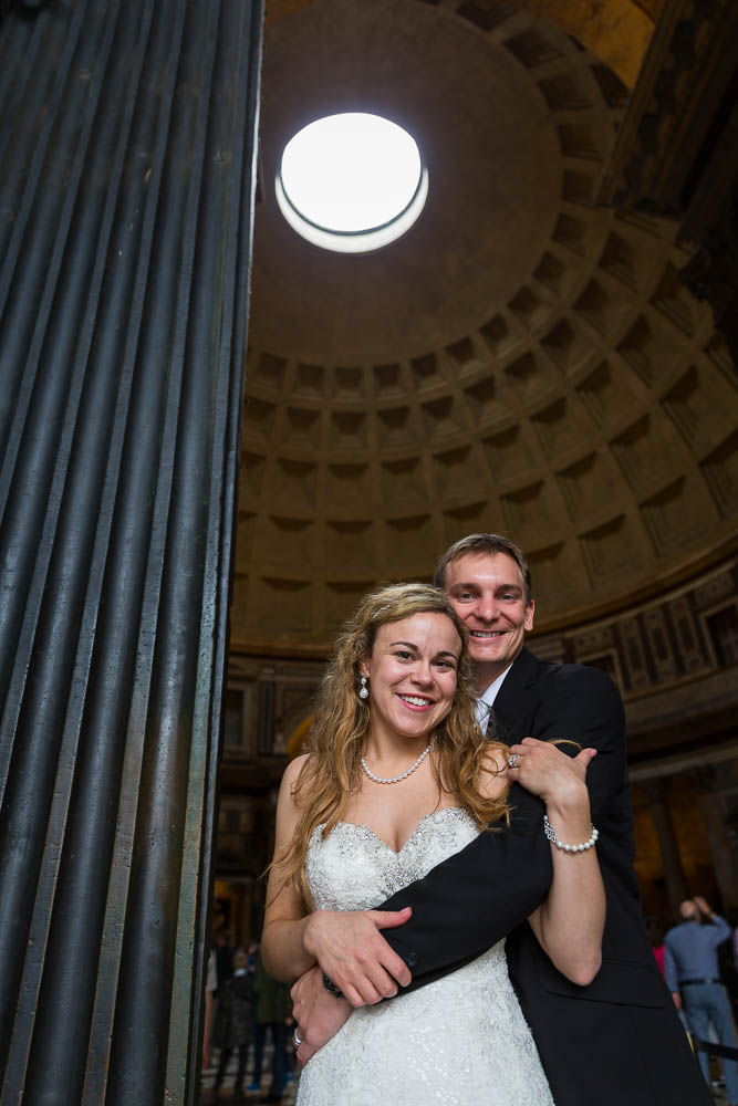 Posing under the Pantheon ceiling hole