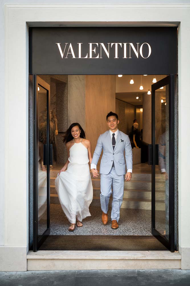Exiting the Valentino store