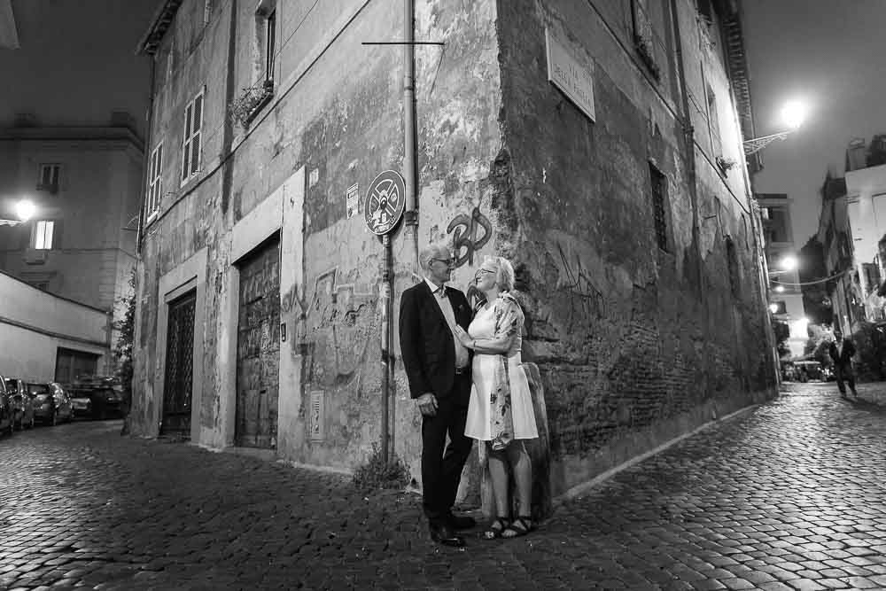 Trastevere street corner at night in black and white photography