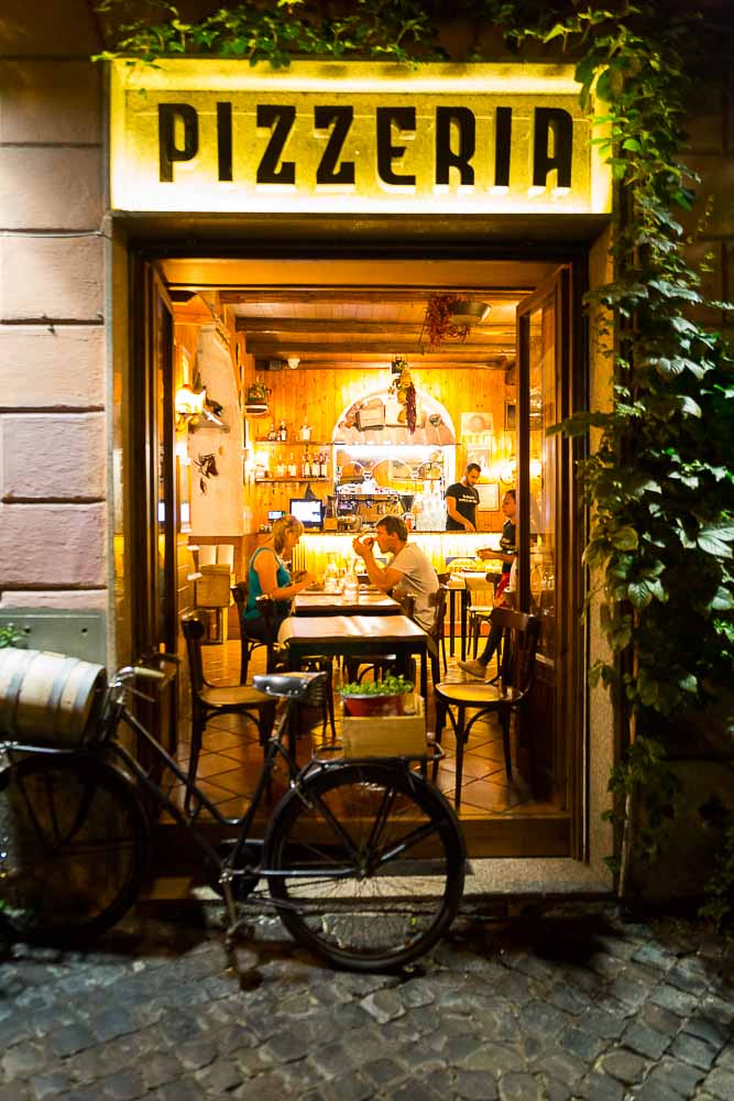 Typical pizzeria in the streets of Rome Italy