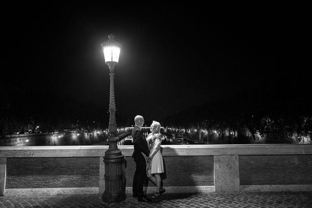 Lifestyle shoot on the bridge under a lit street pole