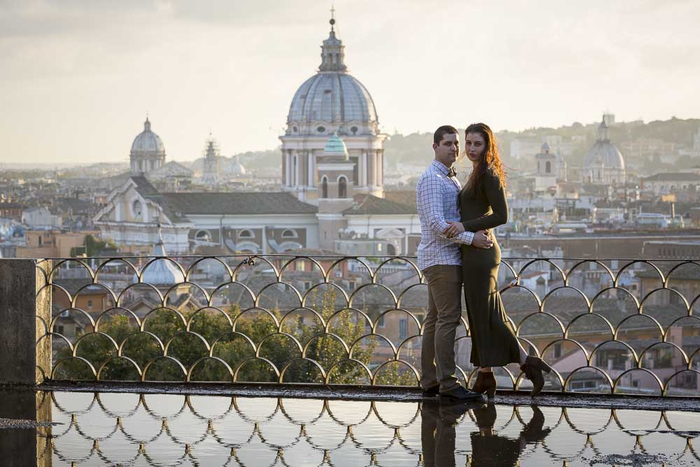 Engagement photos in Rome taken at Parco del Pincio in Rome at sunset
