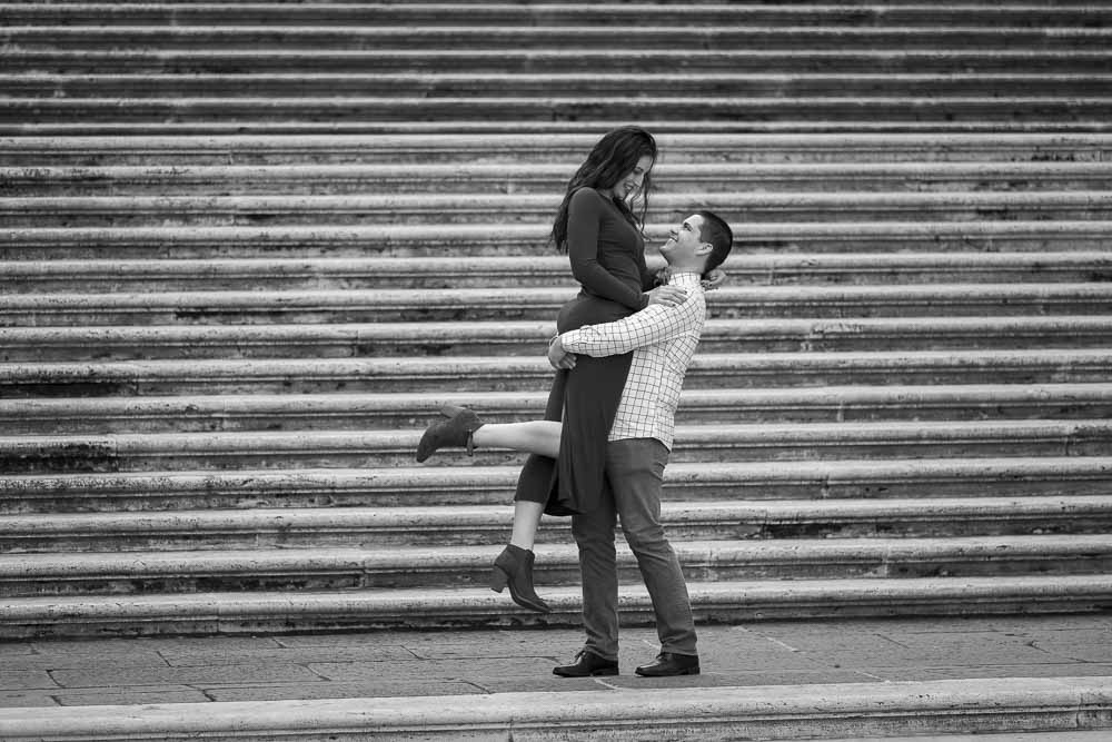Picking up fiancee on the Campidoglio steps. Picture in black and white