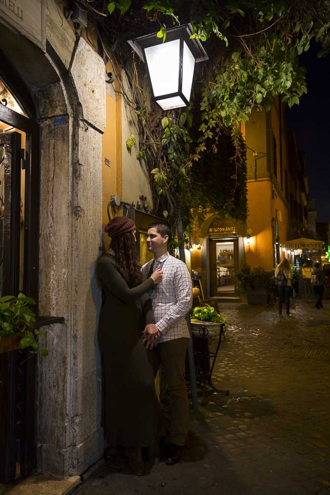 Night engagement photos in the Trastevere quarter