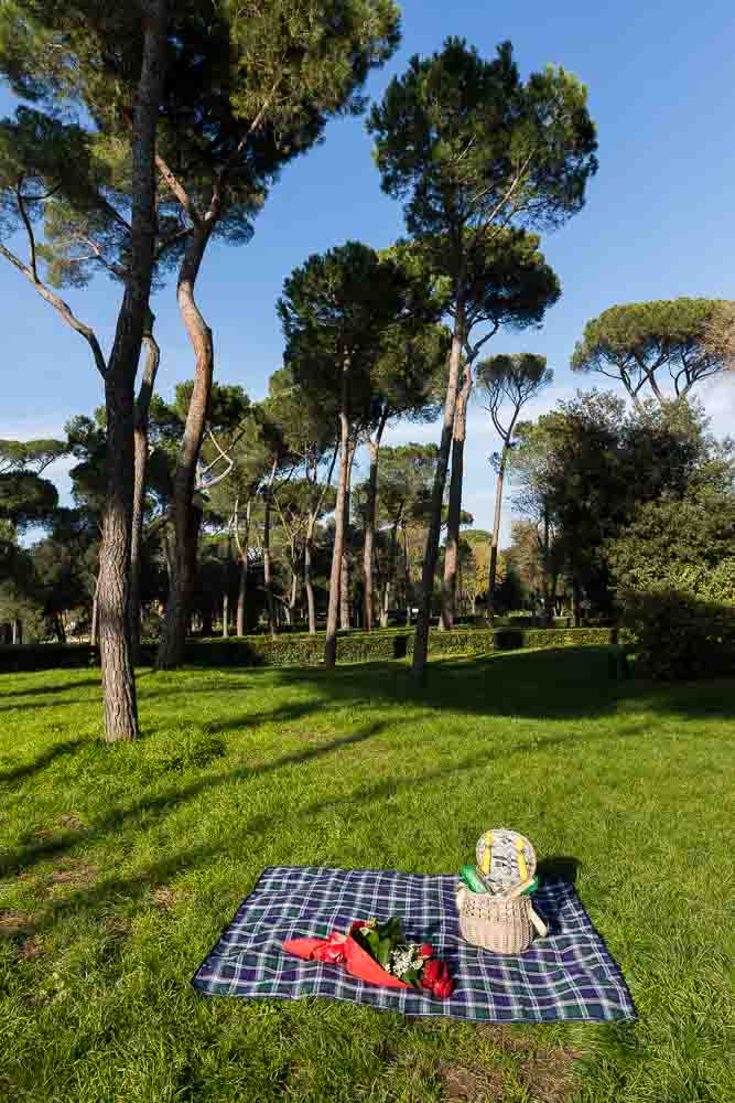 Picnic blanket and basket in the Villa Borghese park in Rome Italy