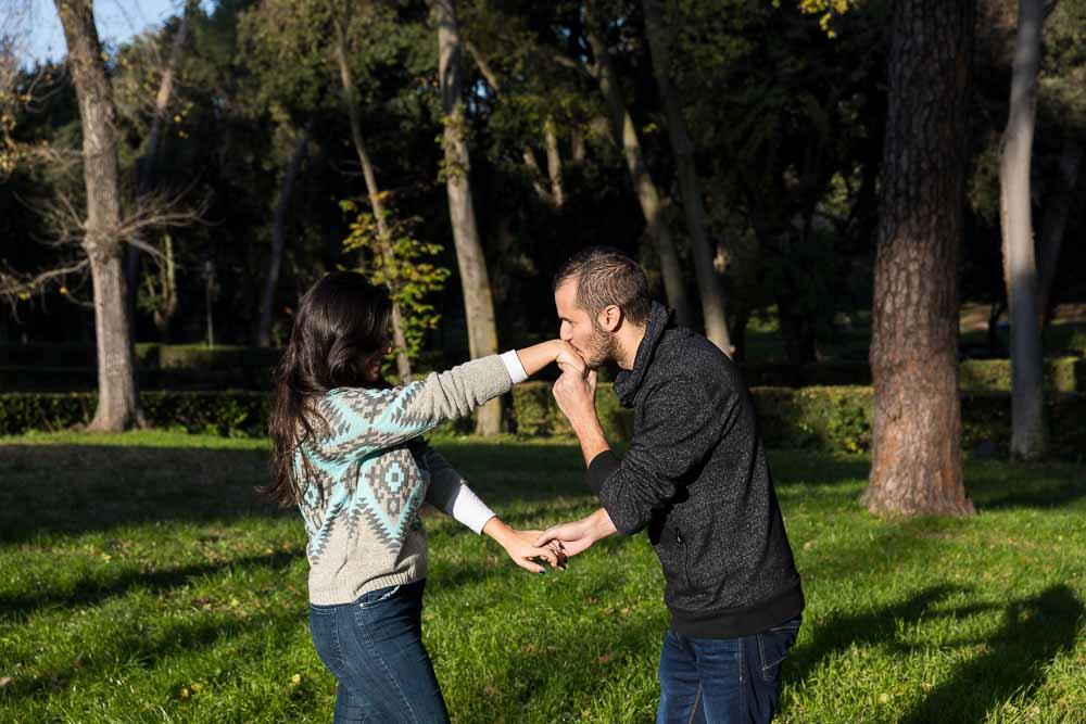 Romance hand kissing