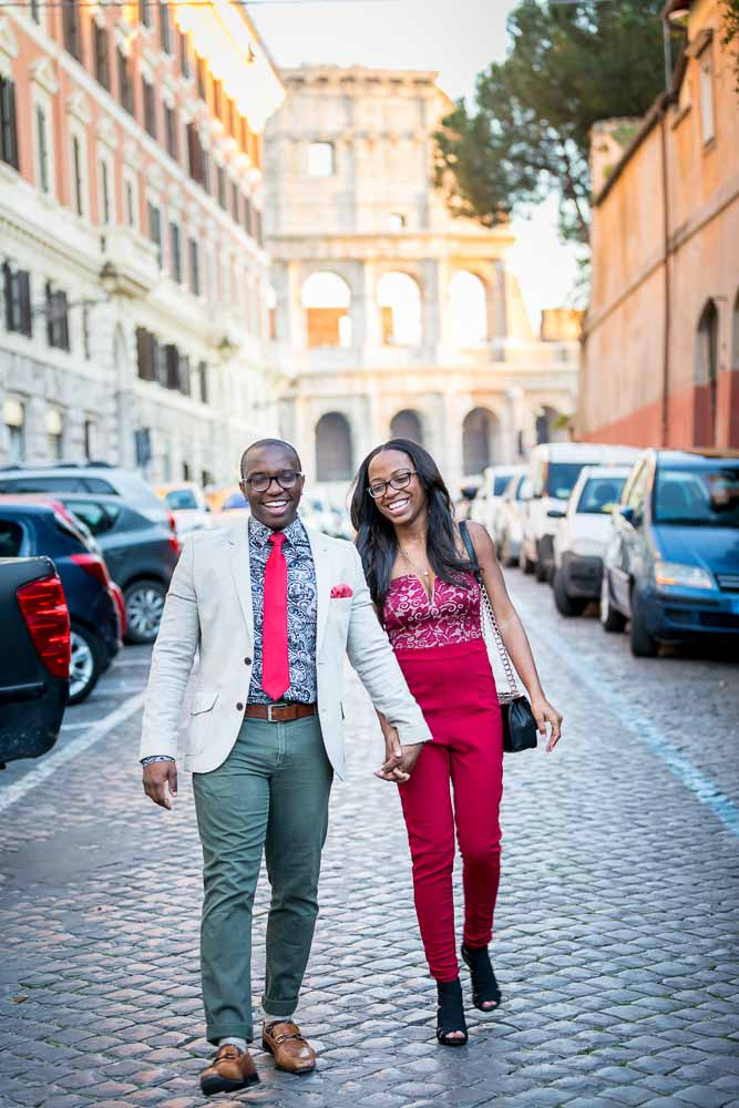 Walking Rome. Alleyway photo. Off the beaten track engagement session.