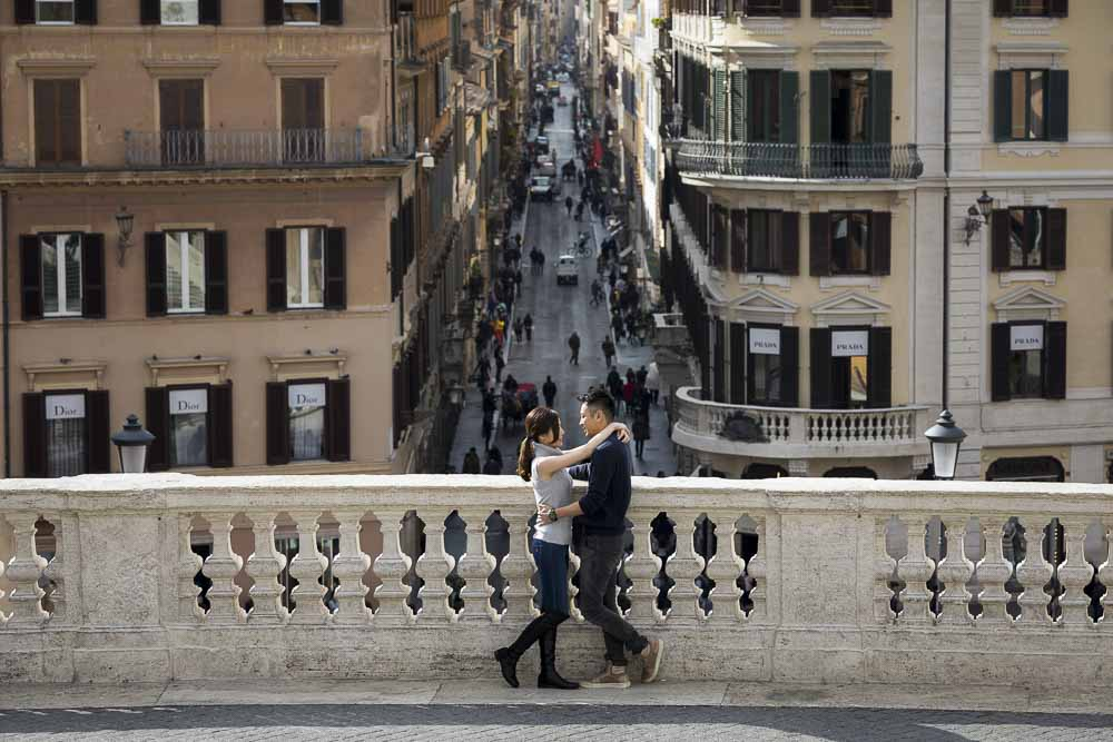 Engagement photo shoot at the Spanish steps in Rome Italy