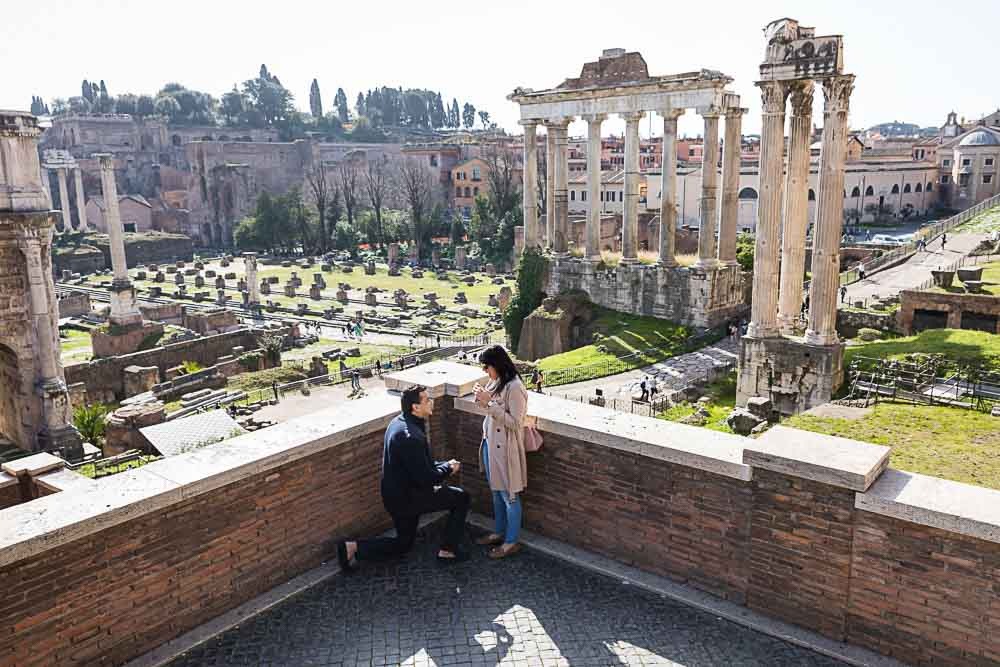Rome Wedding Marriage Proposal taking place at the Roman Forum