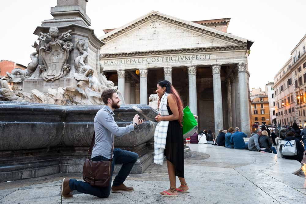 Proposing marriage at the Roman Pantheon in Rome Italy