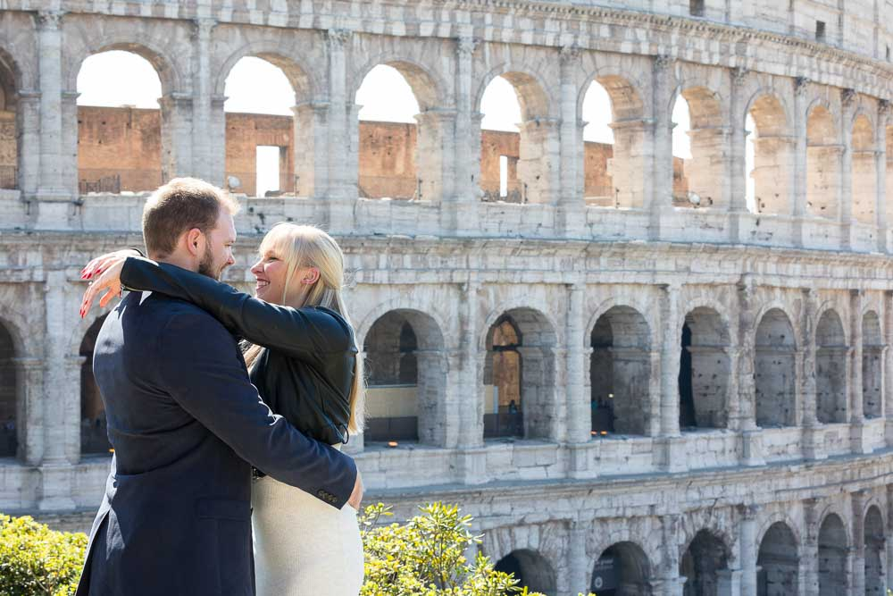 Engaged couple portrait at the Coliseum