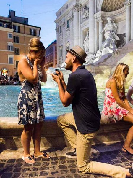 Romantic Trevi fountain marriage proposal