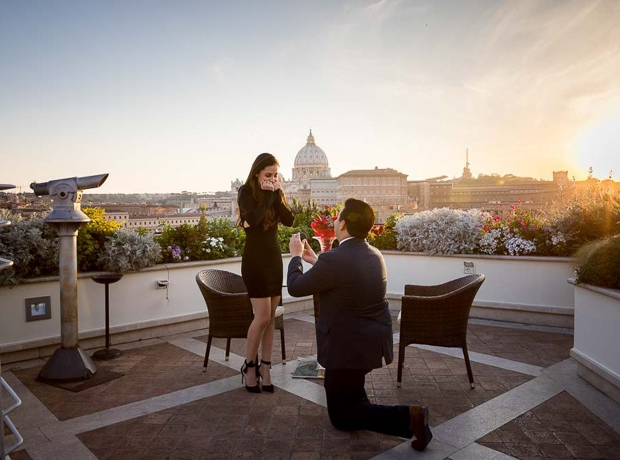 Sunset Rome rooftop wedding proposal