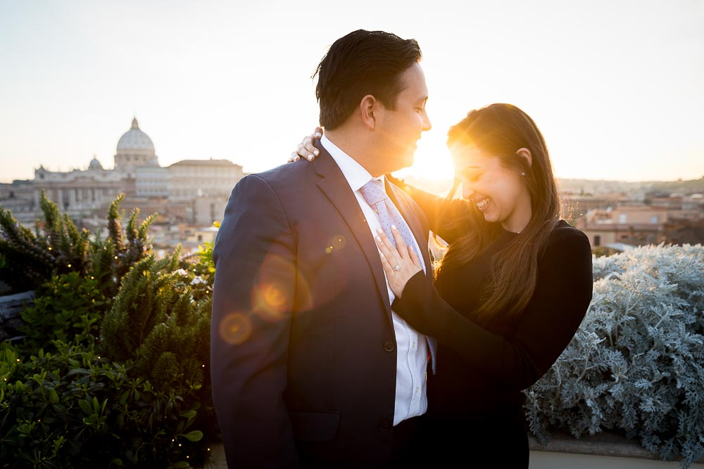 Sunset couple photoshoot Rome vacation photographer just engaged overlooking the beautiful roman skyline
