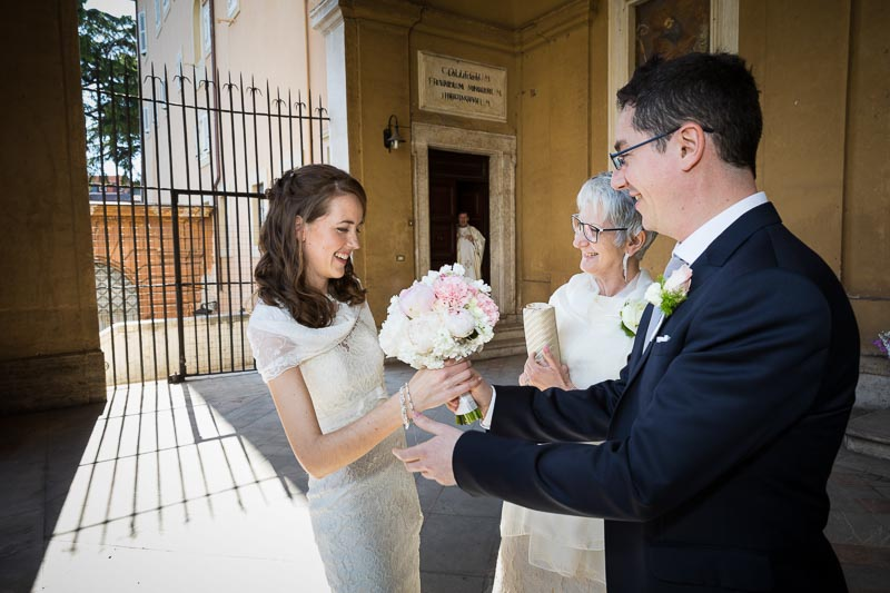 Bride meets groom outside church