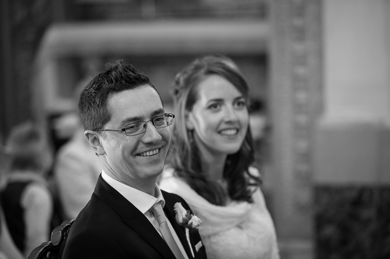 Bride and groom indoor portrait picture in black and white