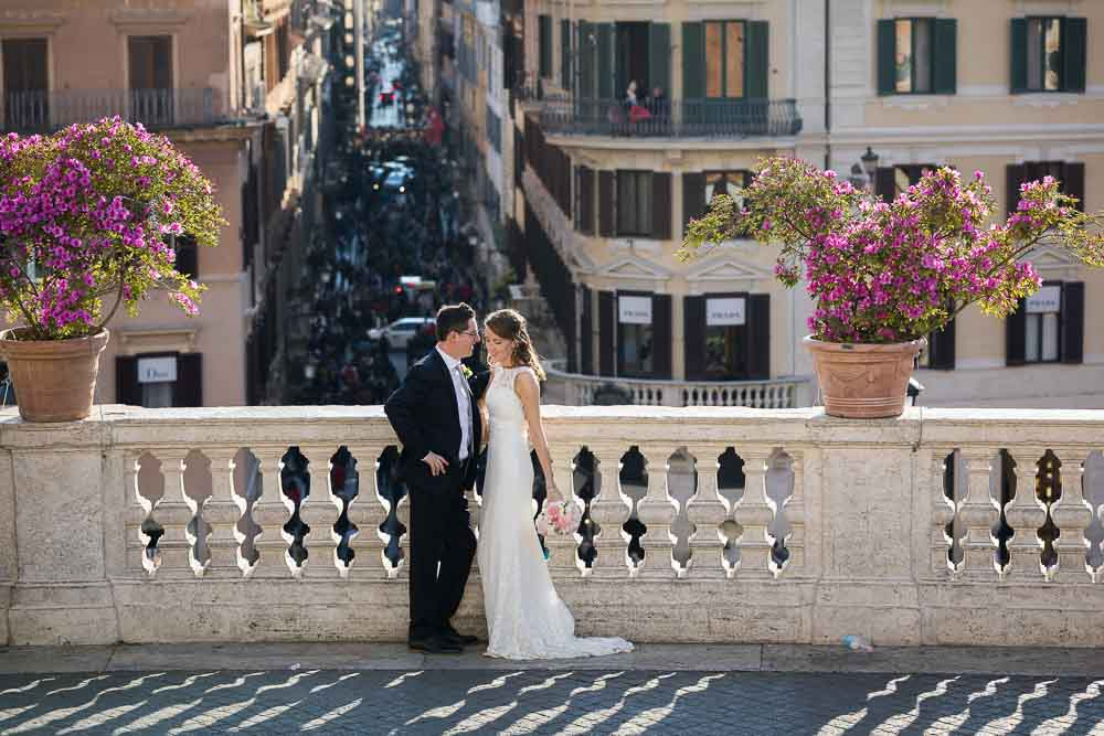 Newlyweds photographed on the Terrace of Piazza di Spagna