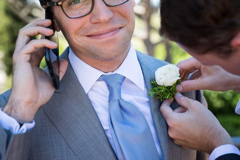 Close up buttonhole corsage