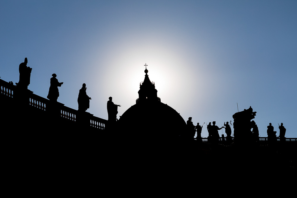 The cathedral in silhouette