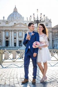 Wedding couple final portrait picture in the square
