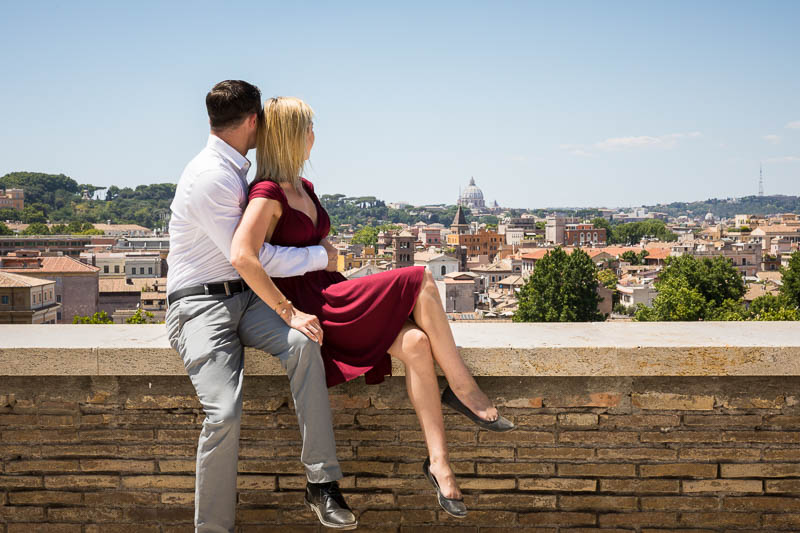 Overlooking the scenic view of Rome from a terrace at the Orange gardens