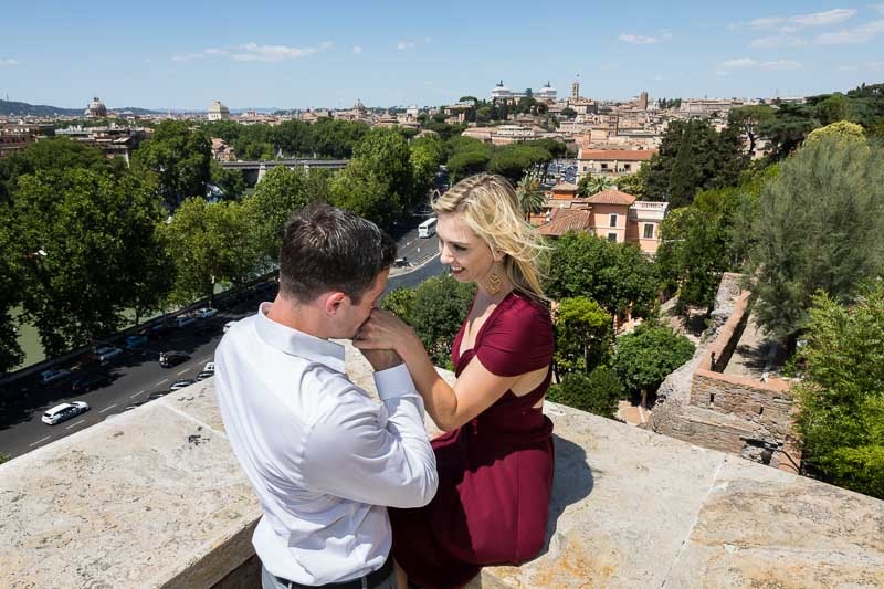 Couple together over roman skyline
