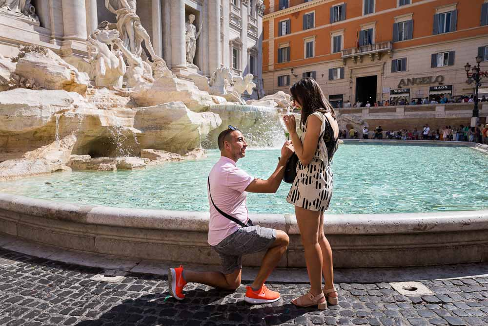 Wedding marriage proposal at the Trevi fountain in Rome Italy