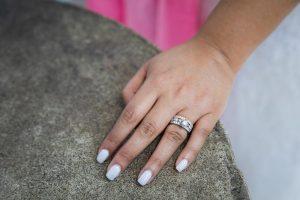 Wedding ring on bride's hand