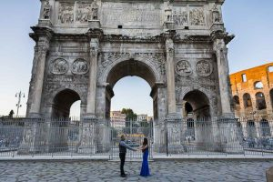 Just engaged before the Constantine arch