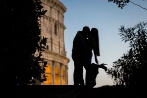 Silhouette image taken during an engagement photo shoot in Rome Italy