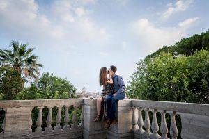 Couple in love overlooking the roman cityscape