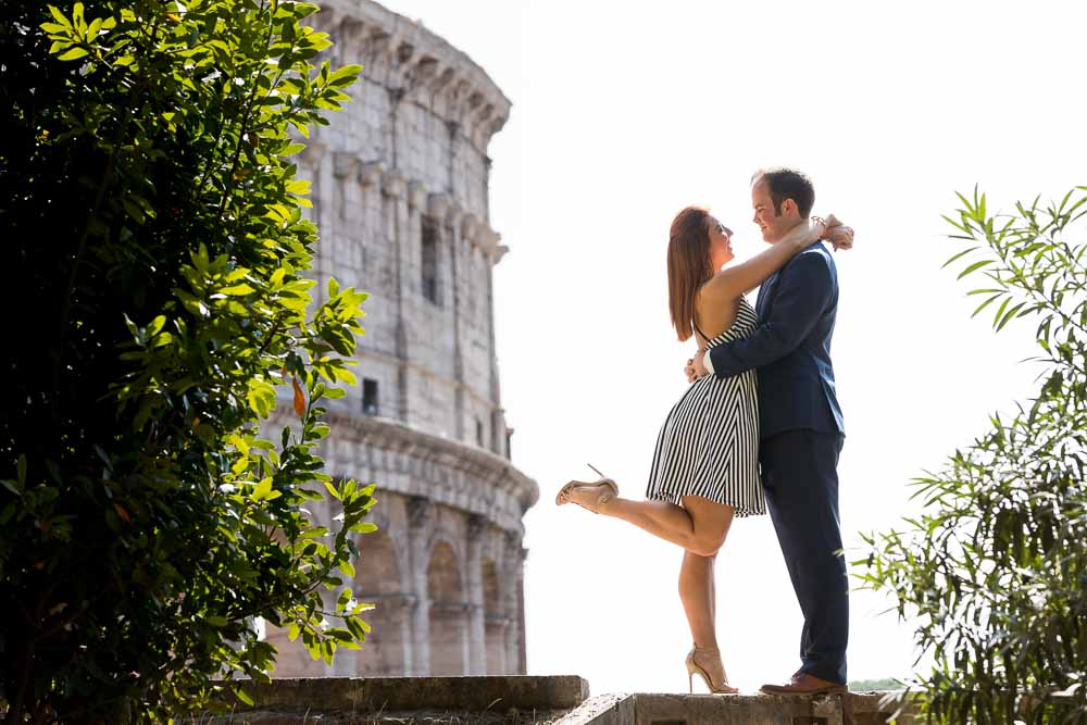 Couple portrait engagement photos taken at the Coliseum in Rome