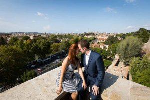 Together in Rome overlooking the scenic skyline from Giardino degli Aranci