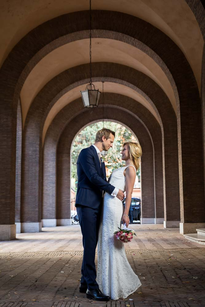 In love under portico arches