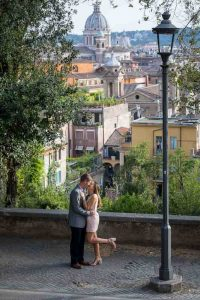 Couple posing during and engagement photoshoot in Rome Italy