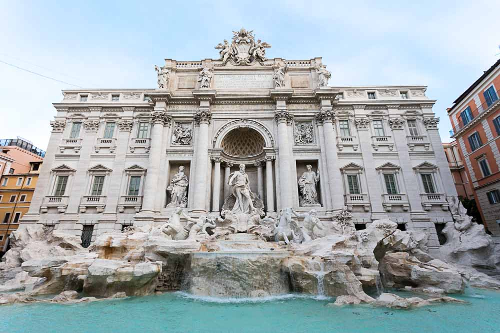 The Trevi fountain. Front view image