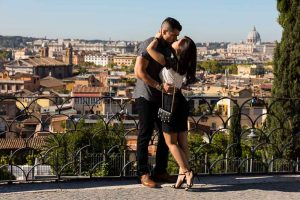 Couple overlooking the roman rooftops