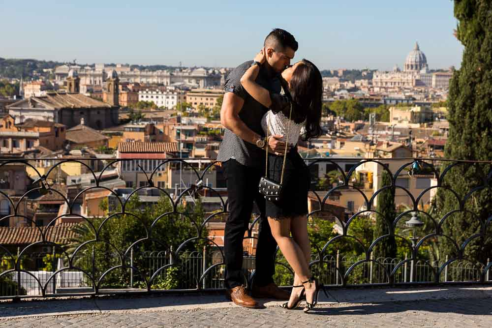 Couple overlooking the roman rooftops