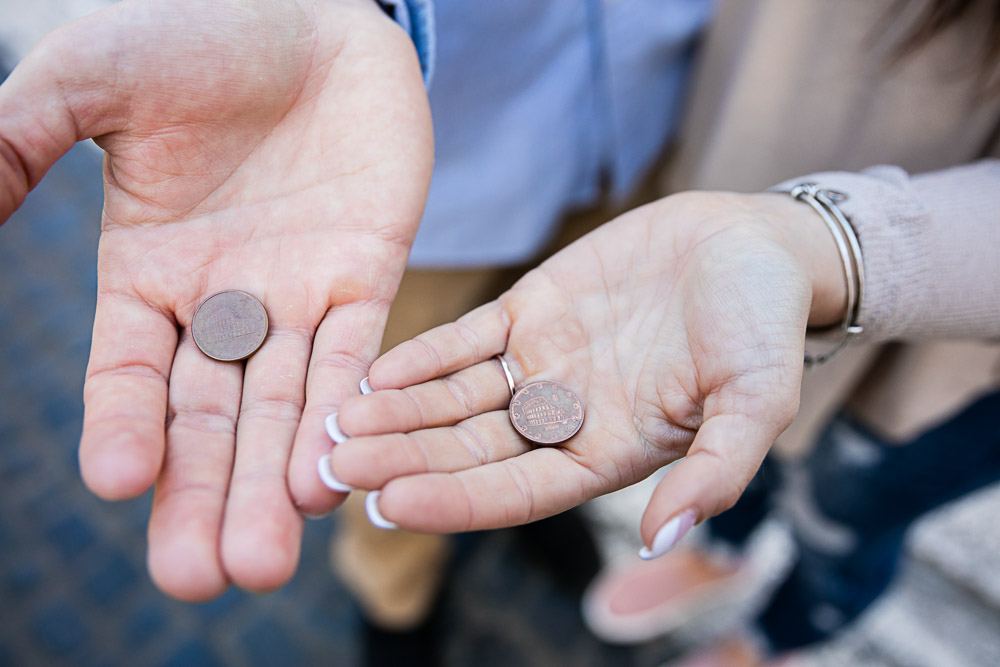 Close up picture of the coins in hand