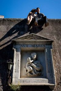 Standing above Ave Maria statue