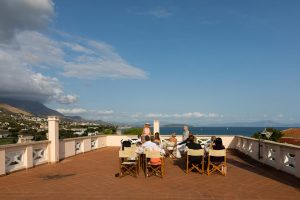 Rooftop terrace view over Gaeta Italy